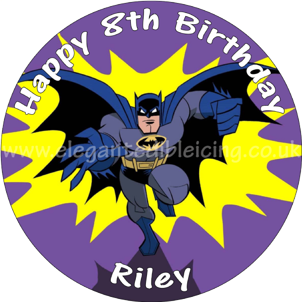 BATMAN CARTOON BIRTHDAY CAKE PERSONALISED EDIBLE PRINTED ROUND CAKE TOPPER